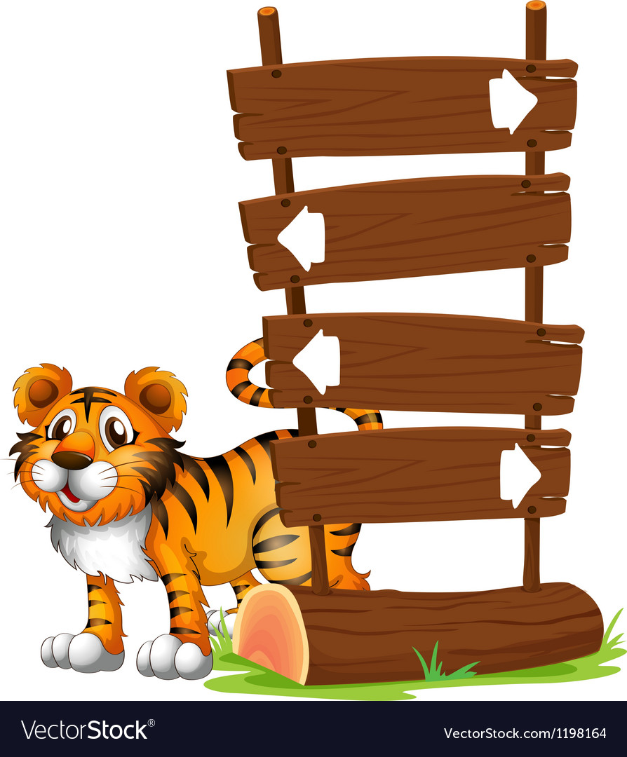 A tiger at the back of a signboard vector image