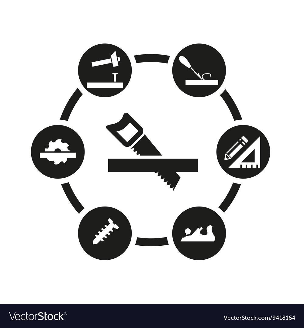 Black carpentry icon set