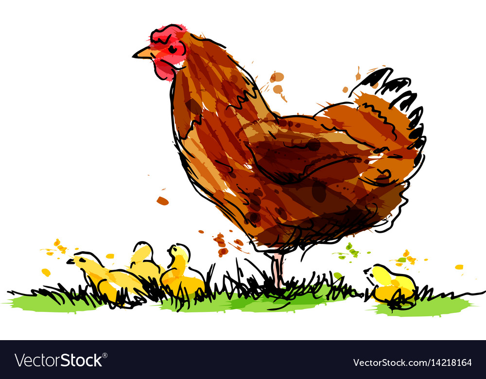 Colored hand sketch hen with chicks vector image