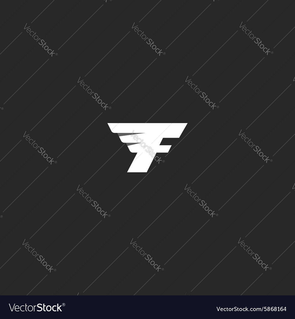Flying letter F logo monochrome abstract geometry