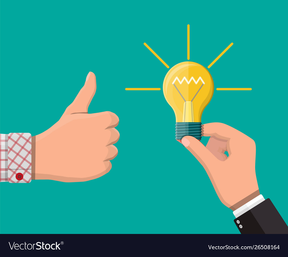 Hand with idea bulb other hands showing thumbs up