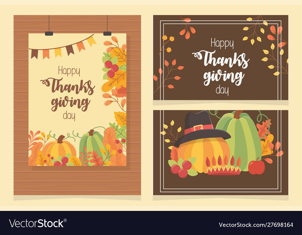 Happy thanksgiving posters set dinner fall leaves