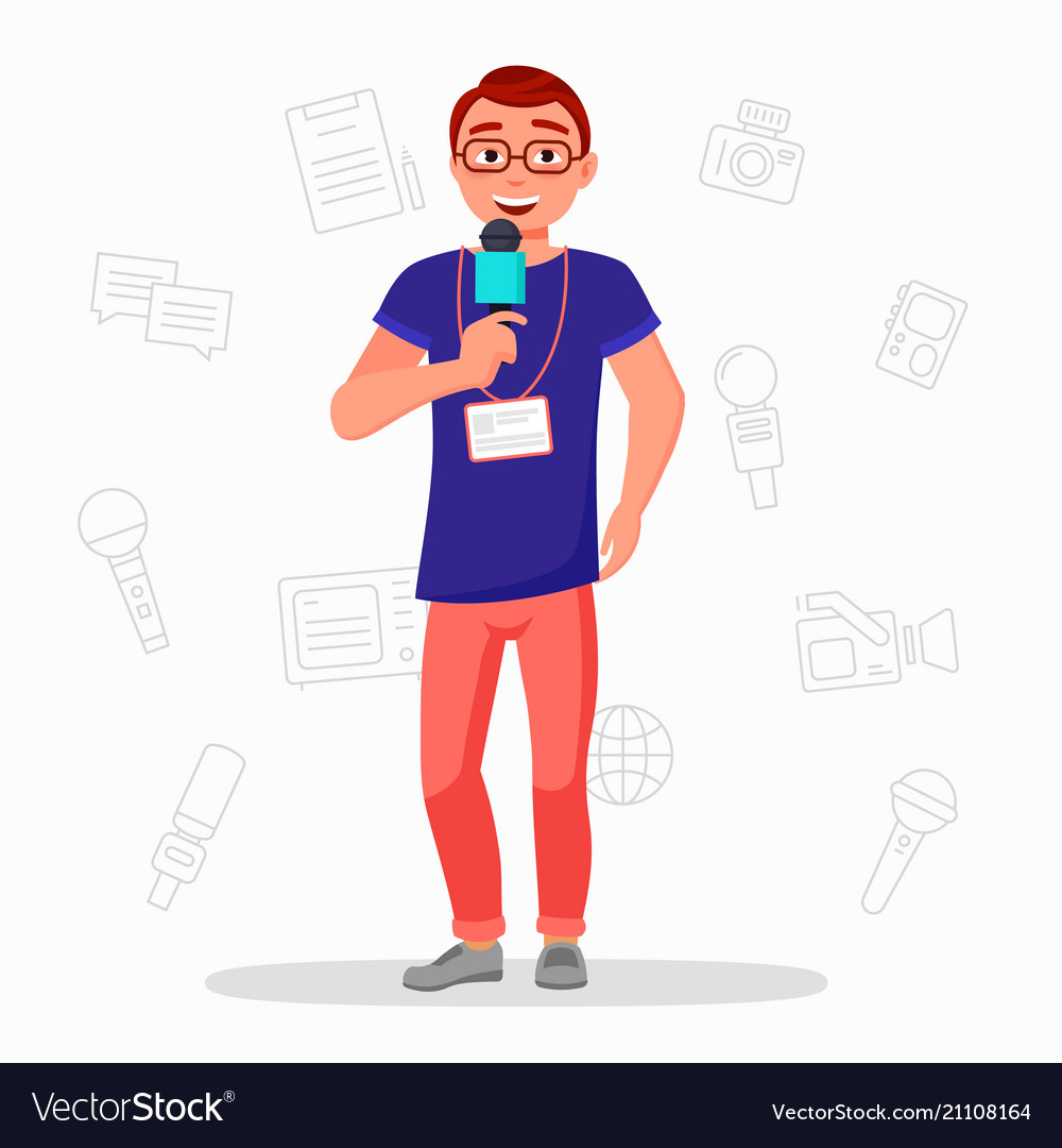 Journalist with microphone flat vector image
