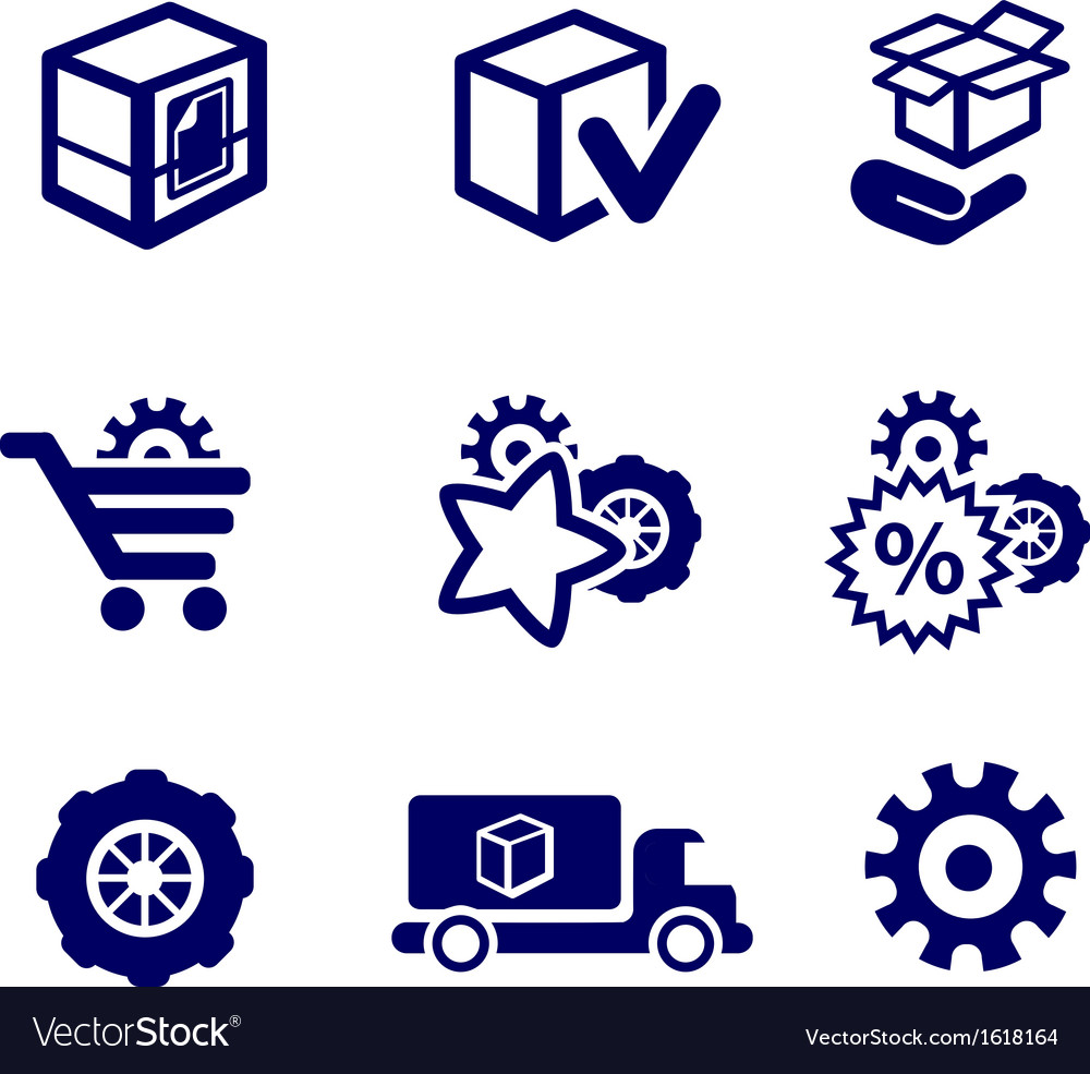 Packaging and buy icons car parts Royalty Free Vector Image