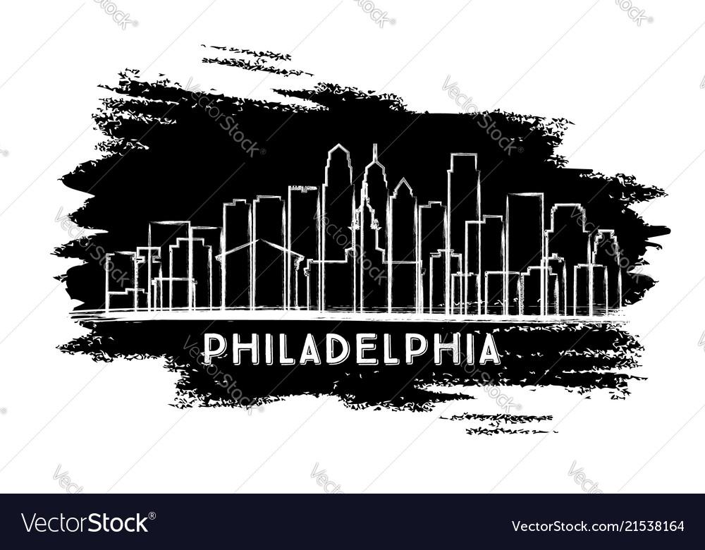 Philadelphia city skyline silhouette hand drawn