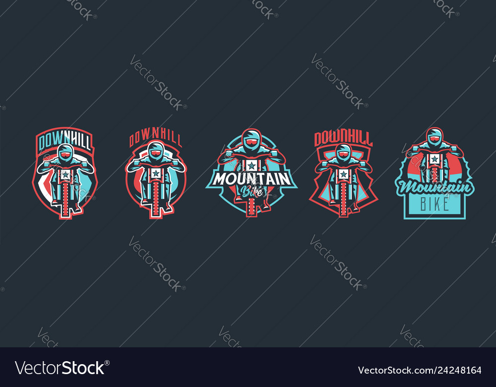 Set of emblems cyclist on a mountain bike sport