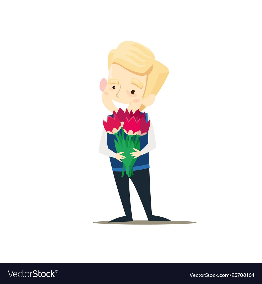 The boy is holding a bouquet of flowers