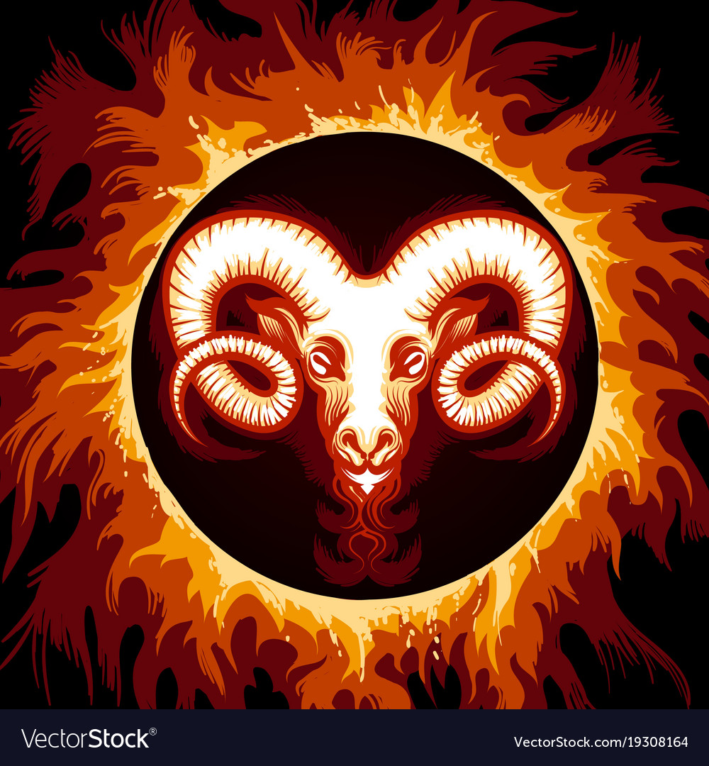 Zodiac sign of aries in fire circle