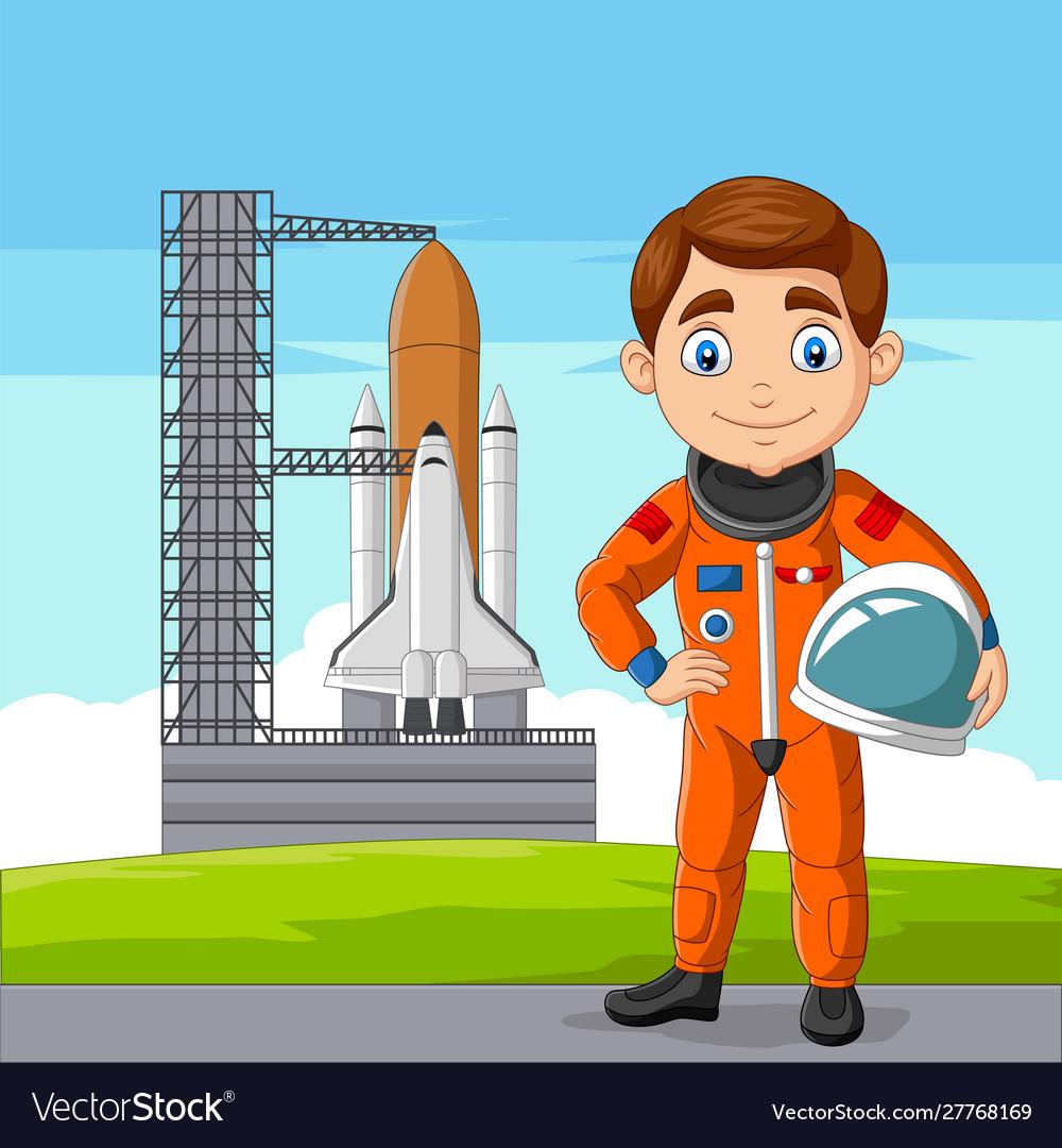 Cartoon astronaut holding helmet with spaceship