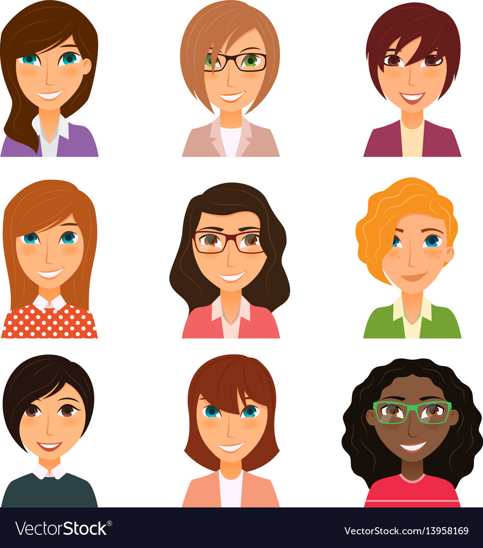 Collection avatars various young women