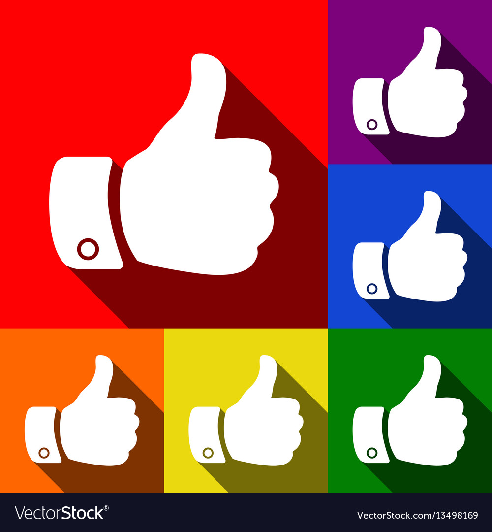 Hand sign set of icons with