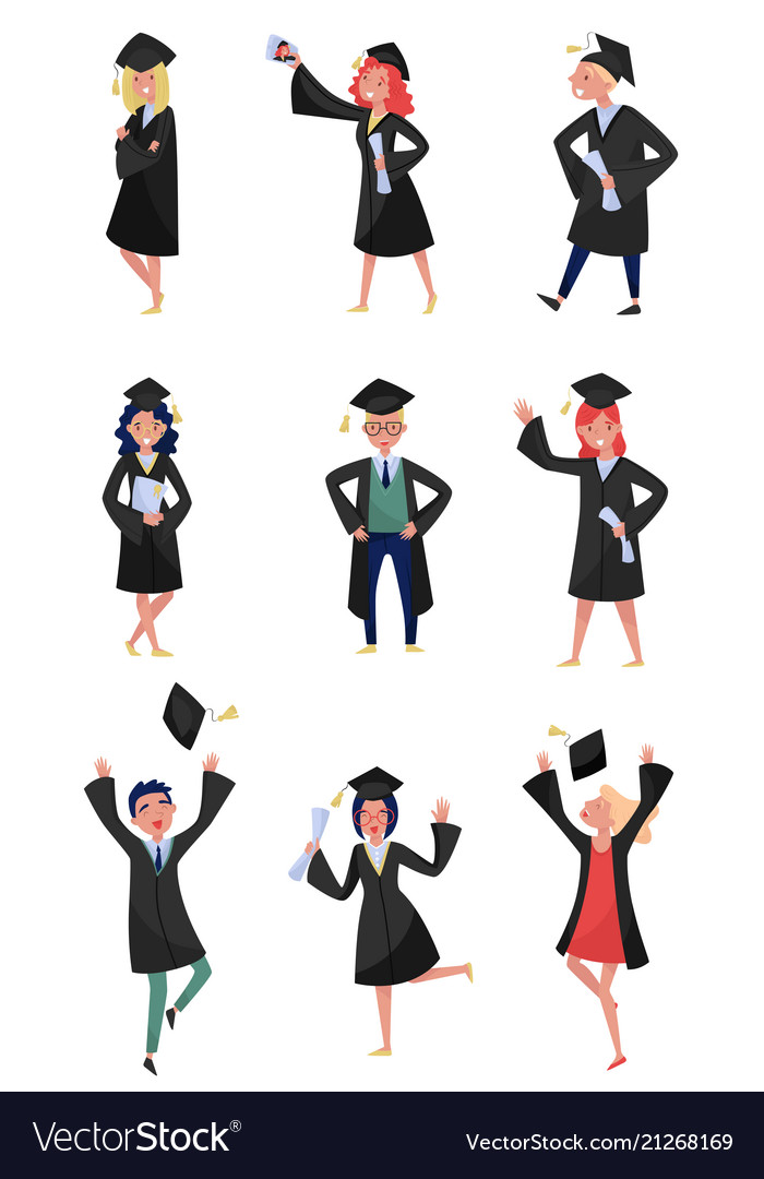 Happy graduates set smiling graduation students