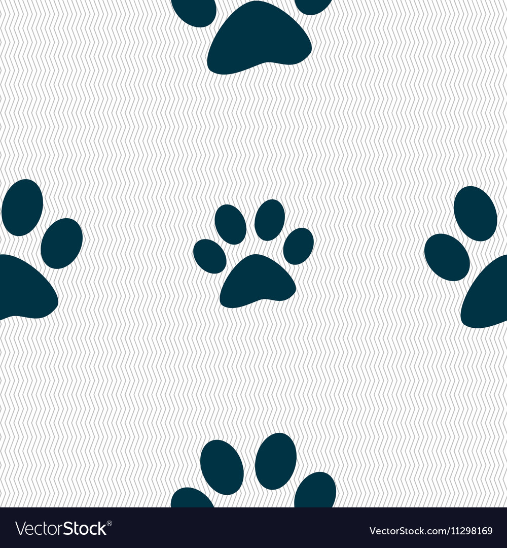 Paw icon sign Seamless pattern with geometric