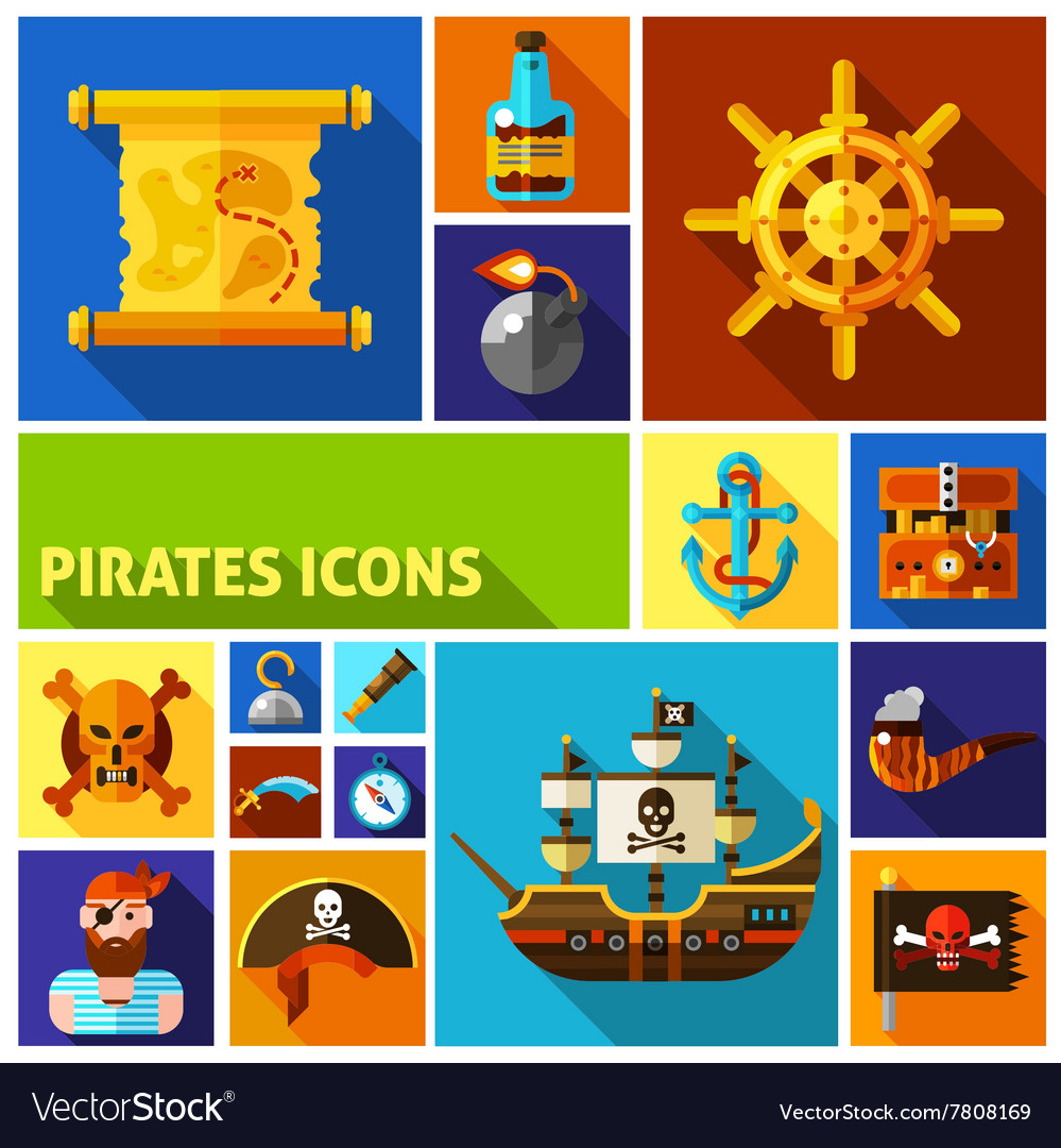 Pirates Flat Cartoon Icons