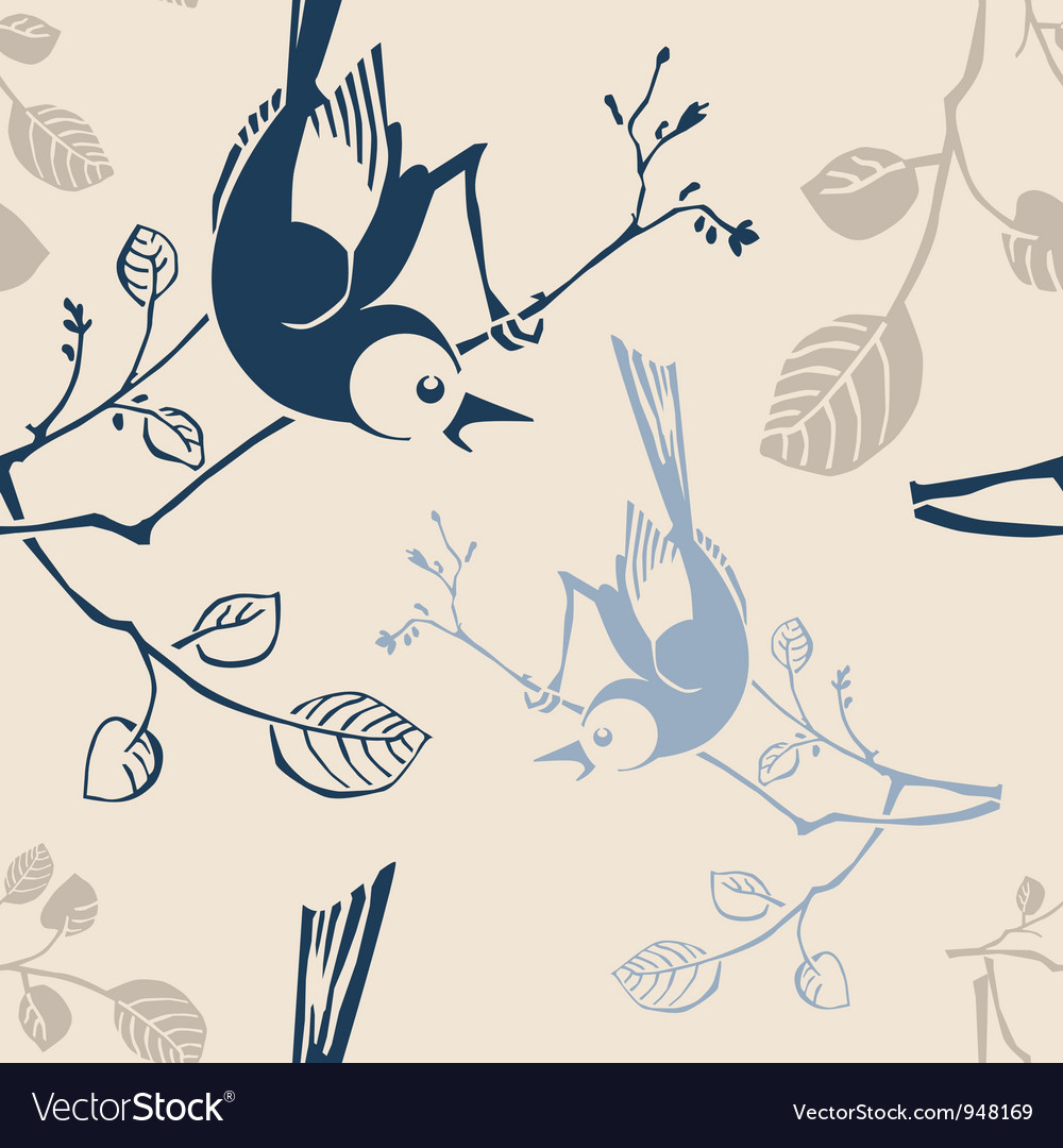 Seamless pattern with branches and birds