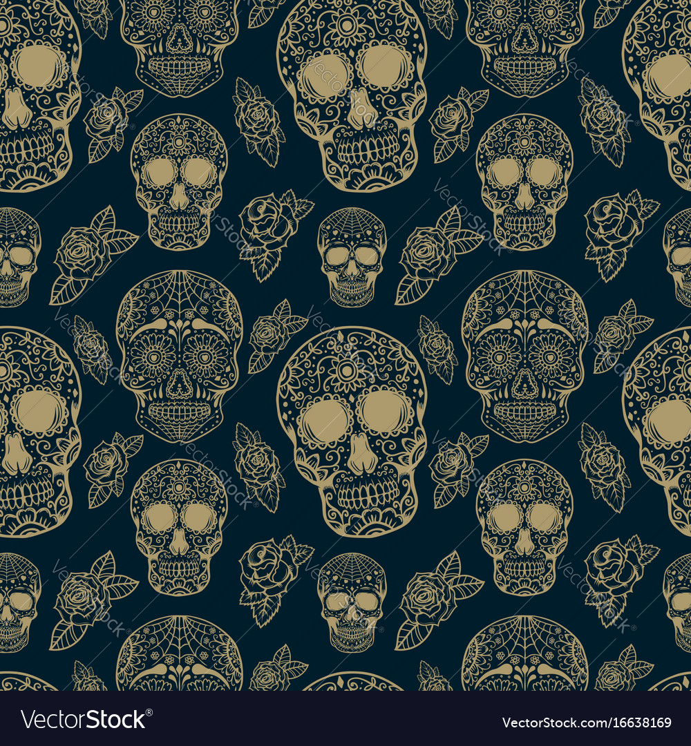 Seamless pattern with sugar skulls isolated on