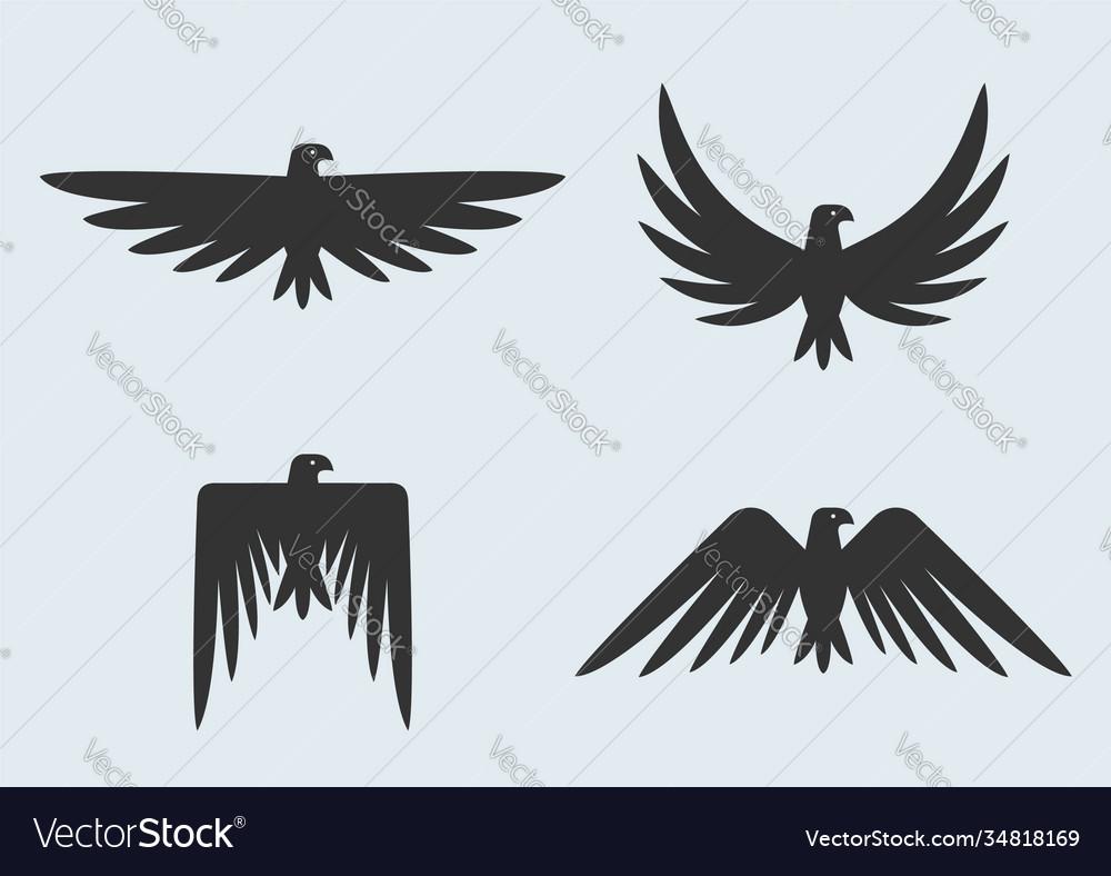 Set eagle silhouettes eagles logo