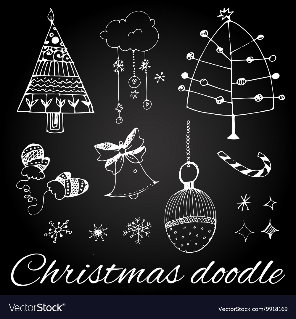 Set of hand drawn Christmas doodles