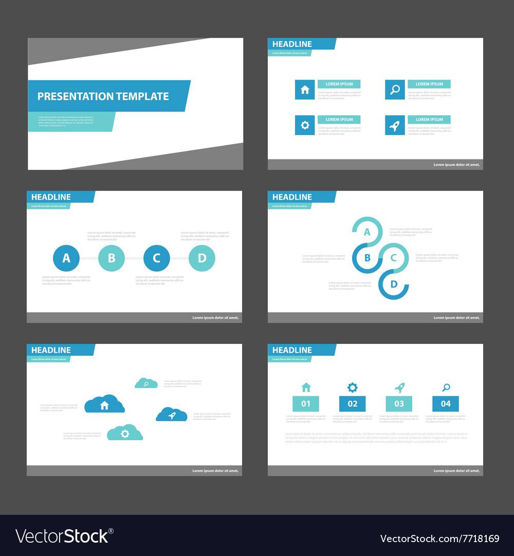 simple blue presentation templates infographic set vector image