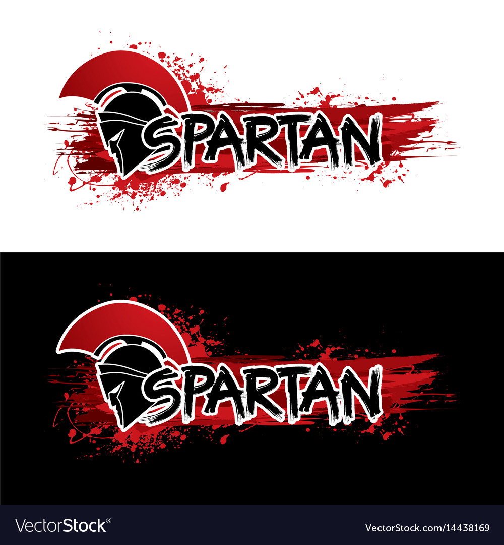 Spartan warrior helmet with font and blood graphic