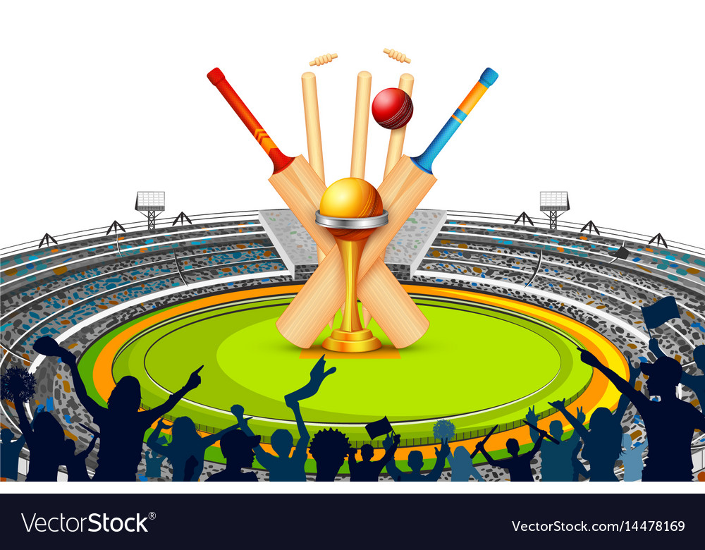 Stadium of cricket with bat wicket and trophy vector image