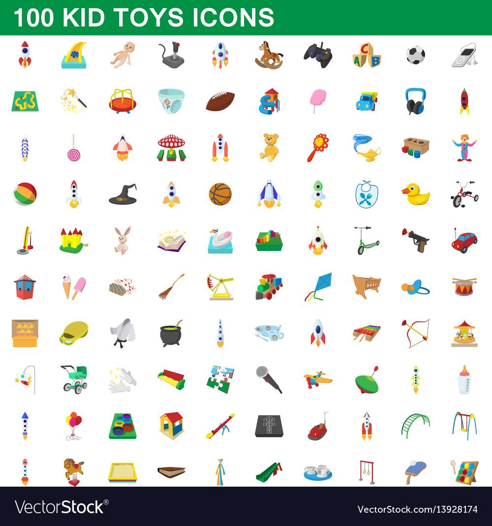 100 kid toys set cartoon style vector image