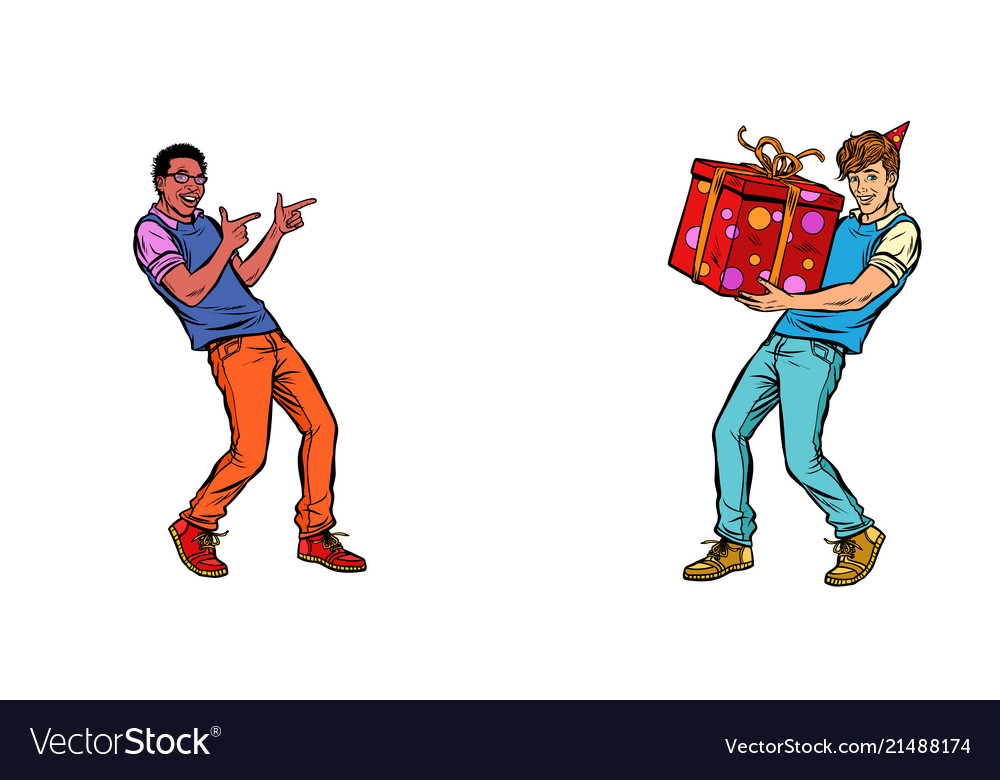 Birthday Young Man Gift Vector Image