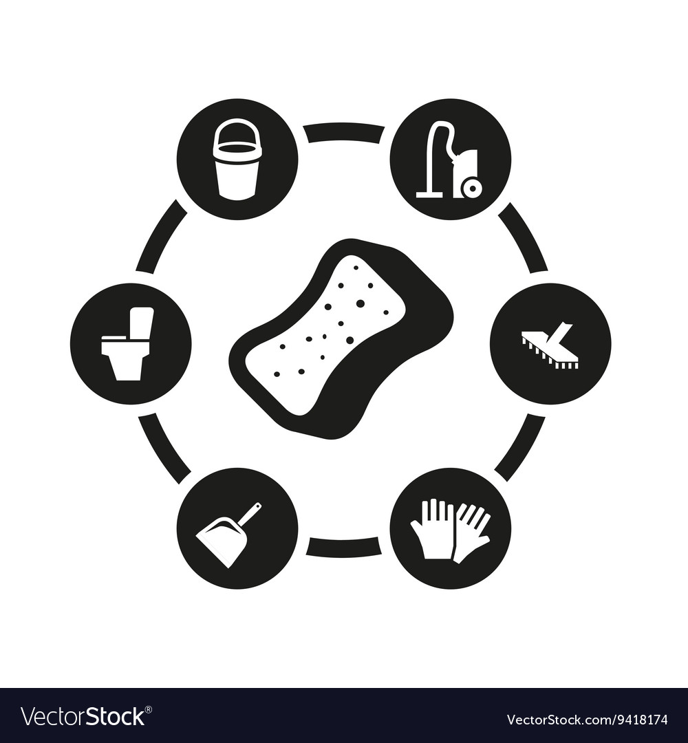 Black cleaning icon set