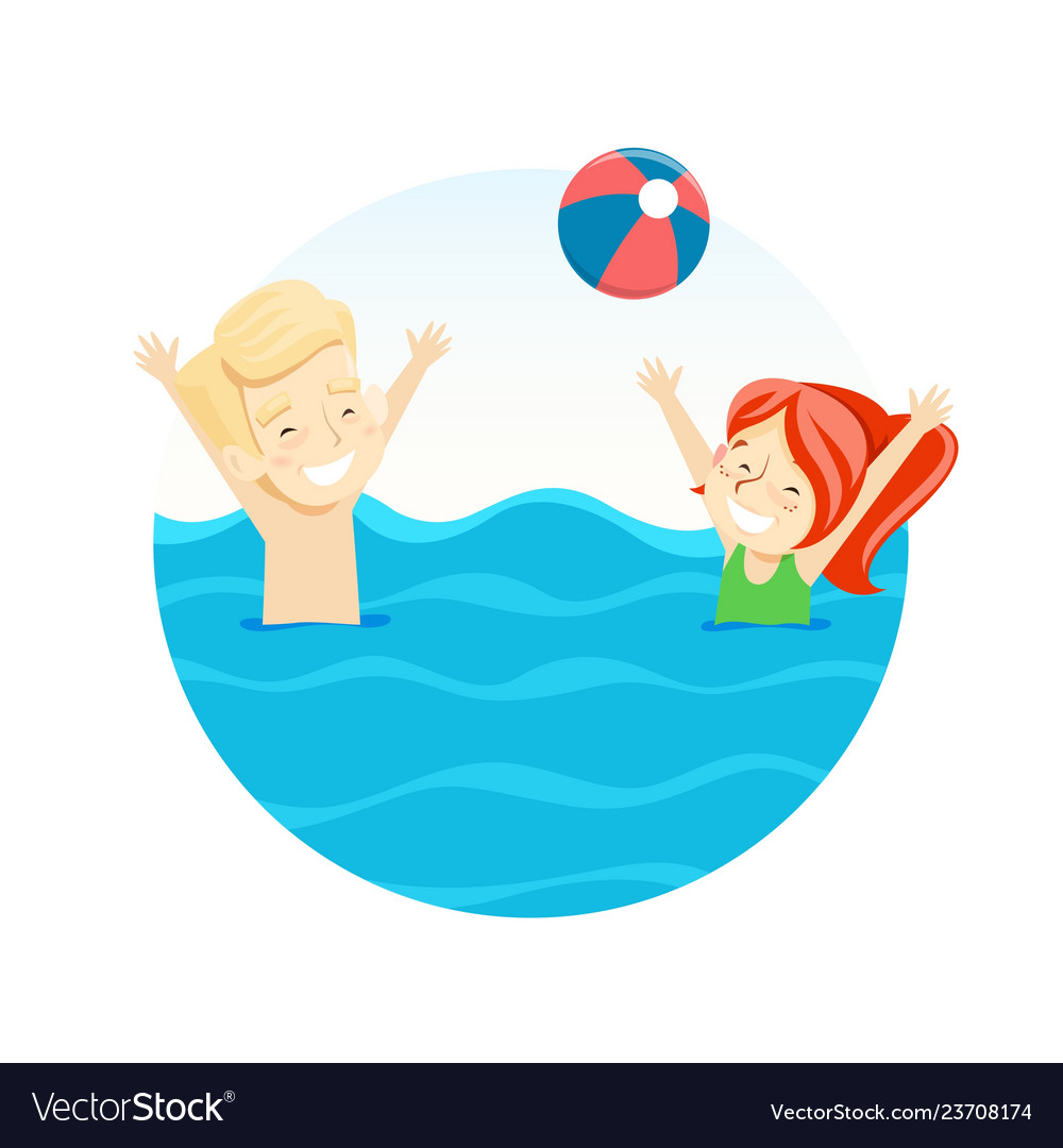 Boy and girl playing ball in water