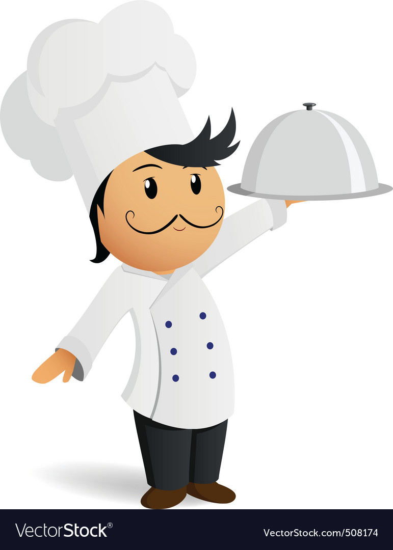 Cartoon chef in white hat with dish