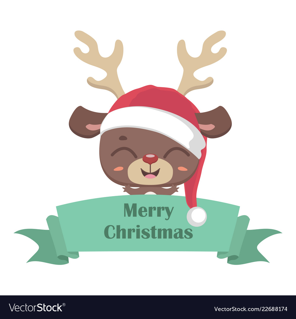 820bf40a8c7af Cute reindeer in santa hat with banner Royalty Free Vector
