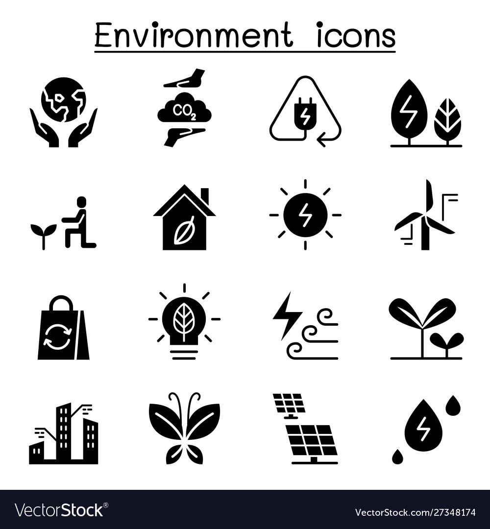 Environment ecology icon set