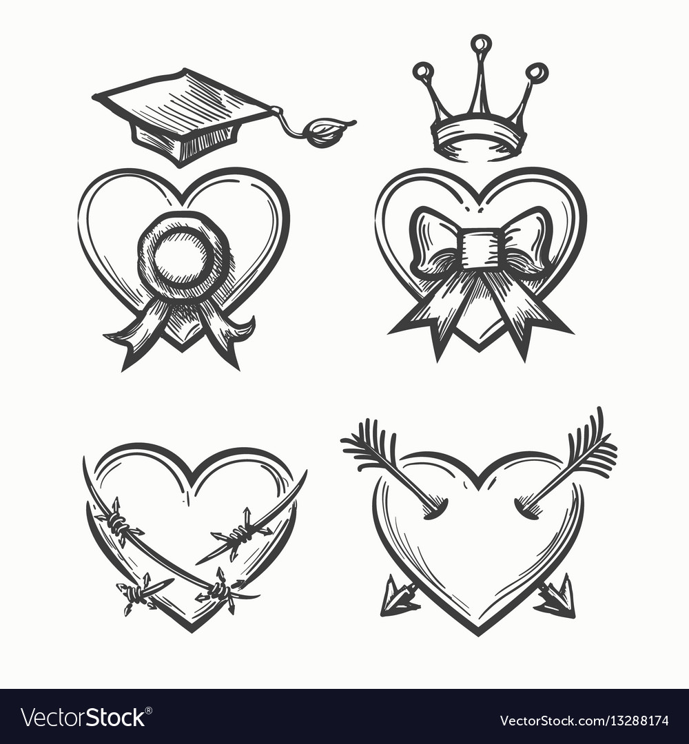 Hand drawn hearts in tattoo sketch style heart vector image