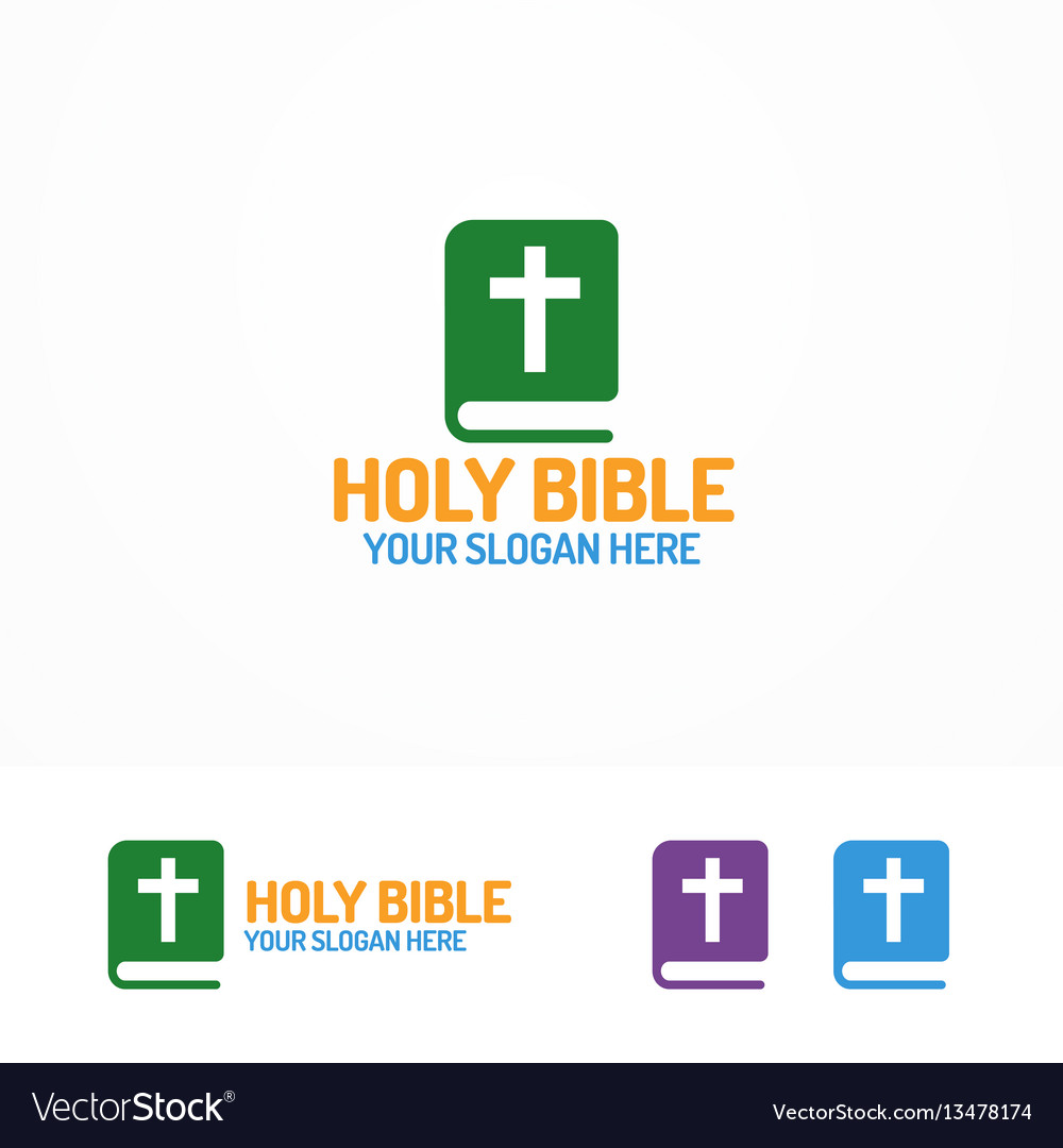 Holy bible book logo different color