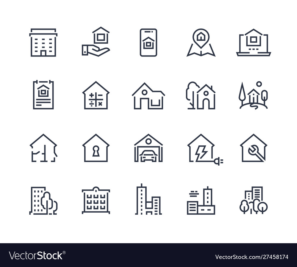 House line icons town houses city buildings and