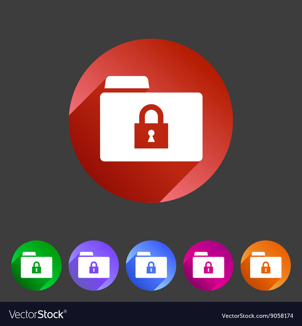 Secure locked folder icon flat web sign symbol