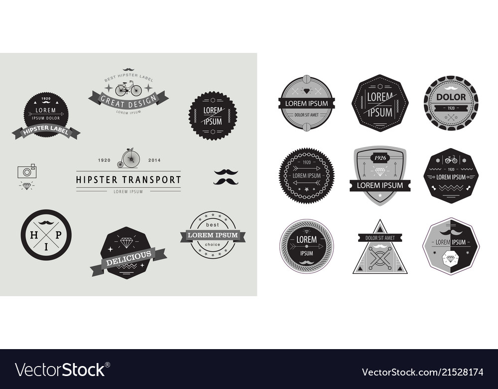 Set of geometric abstract logos badges
