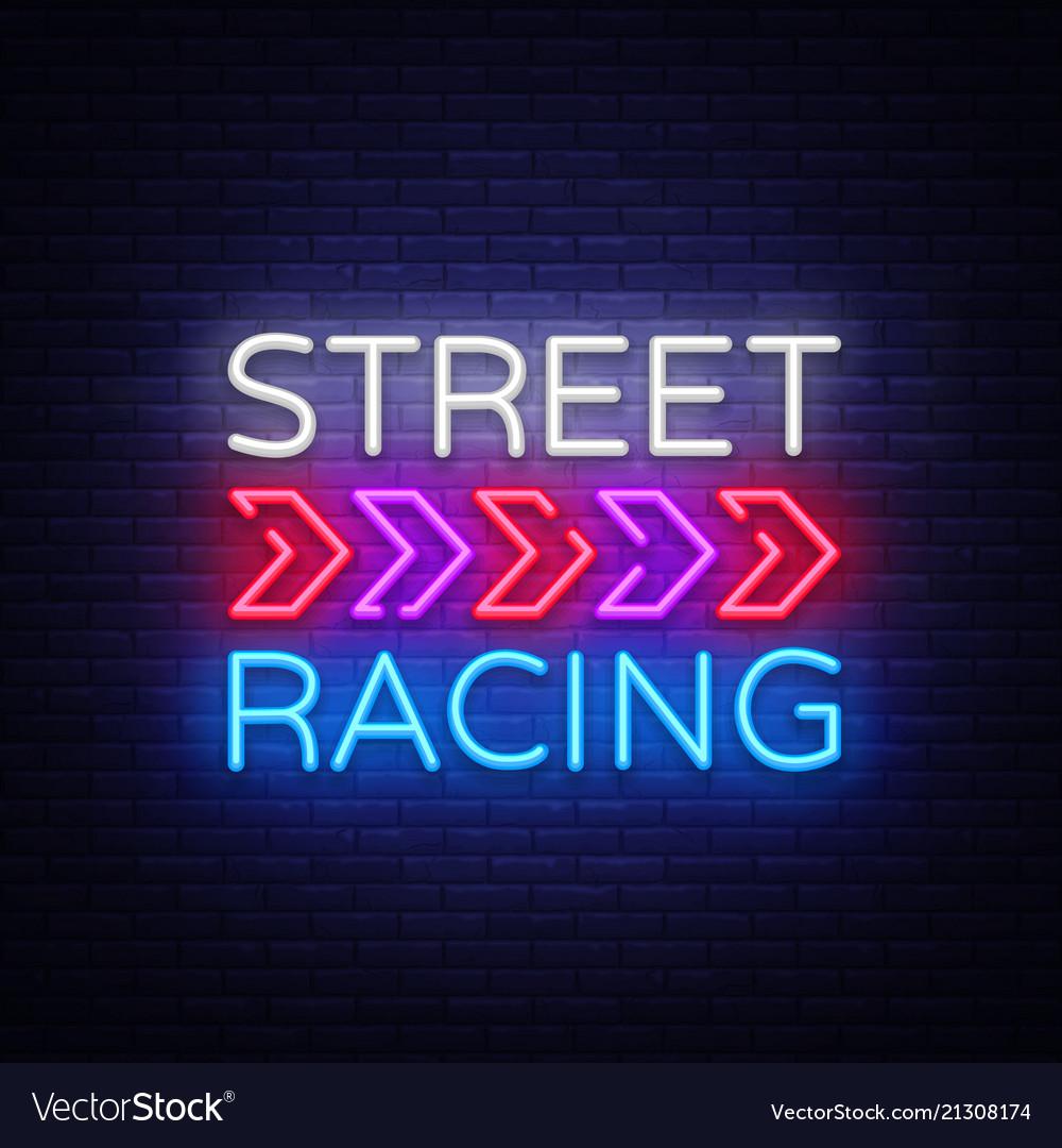 Street racing night neon logo racing neon