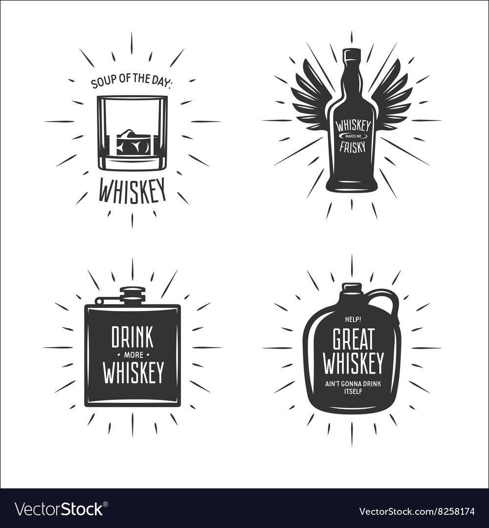 Whiskey related typography set Quotes