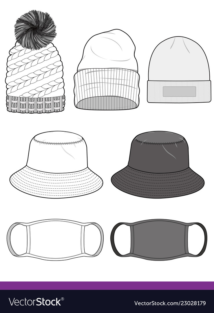 bucket hat beanie mask set fashion template vector image
