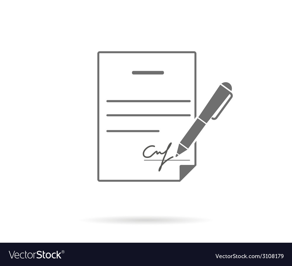 Business contract with signature vector image