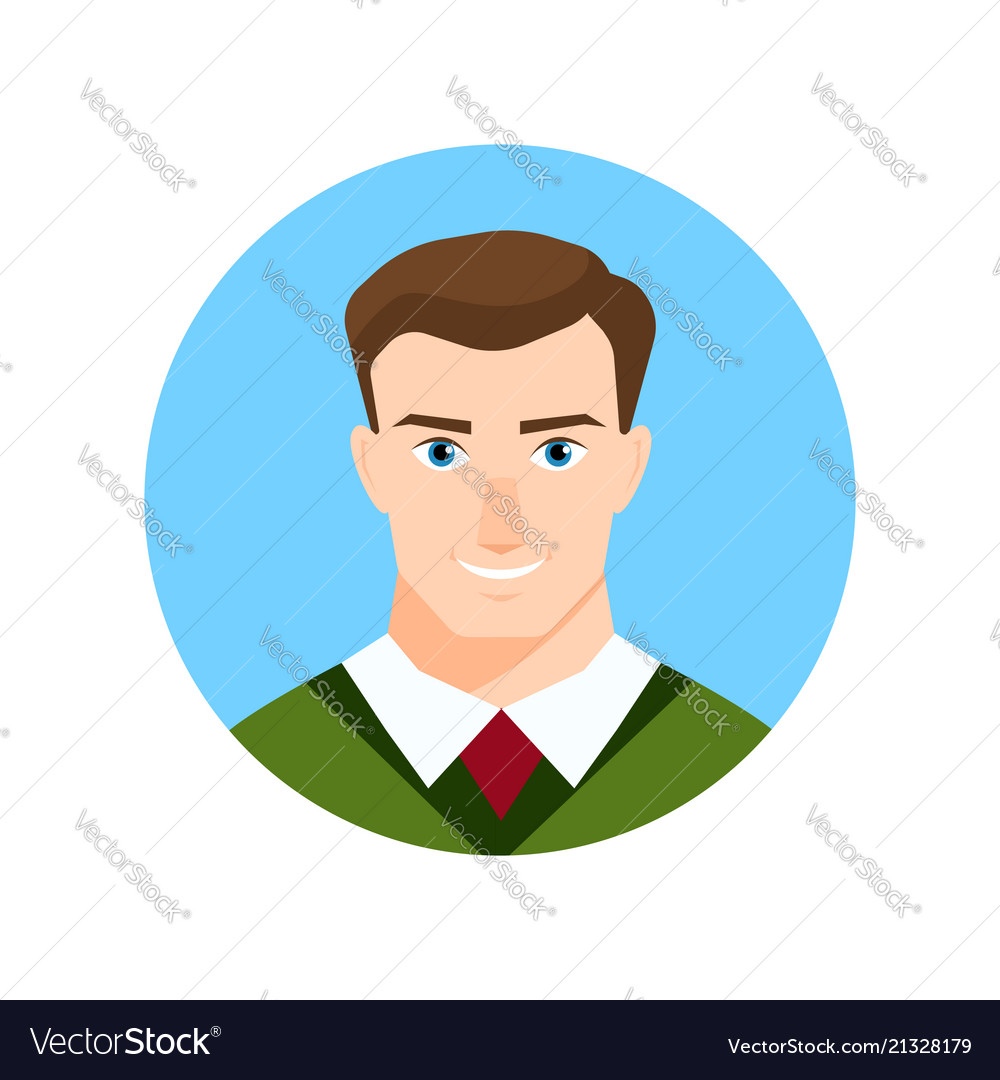 Colorful male face circle icon in flat style