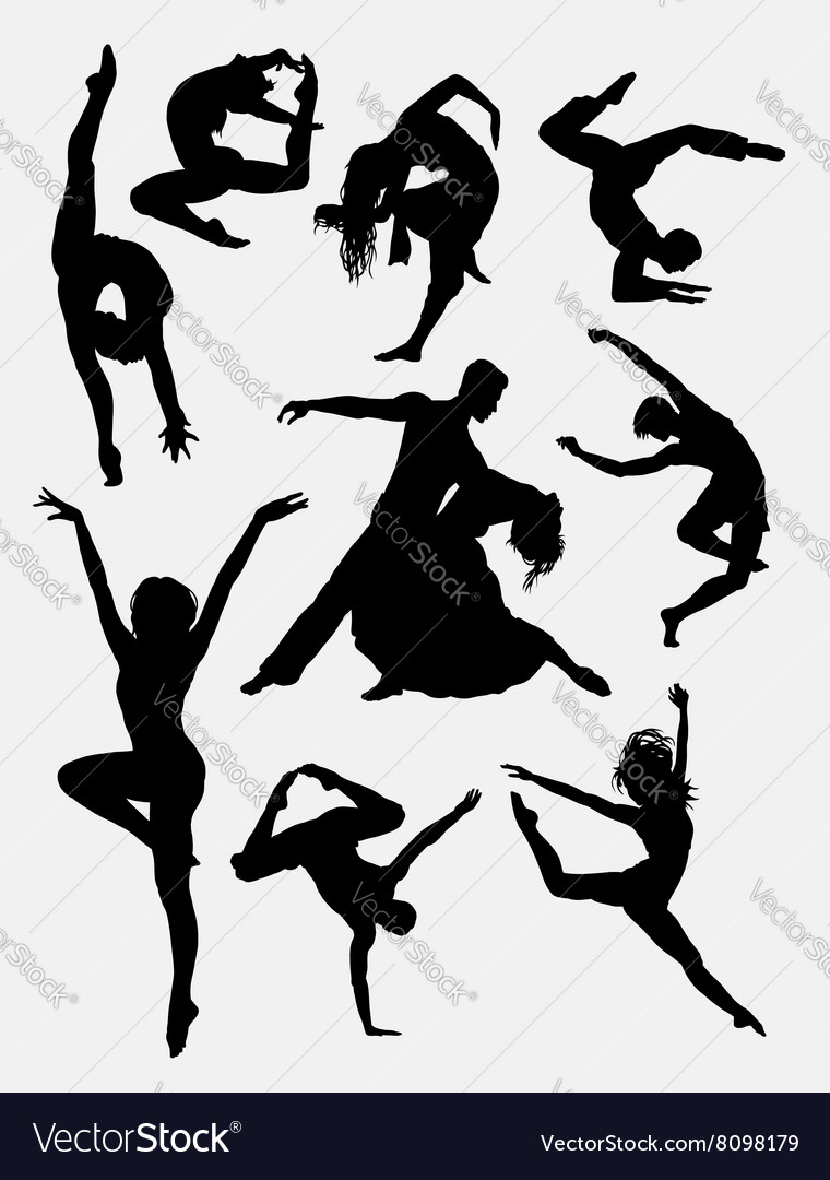 Contemporary dance people silhouette vector image