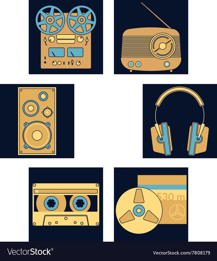 Dark blue music icons