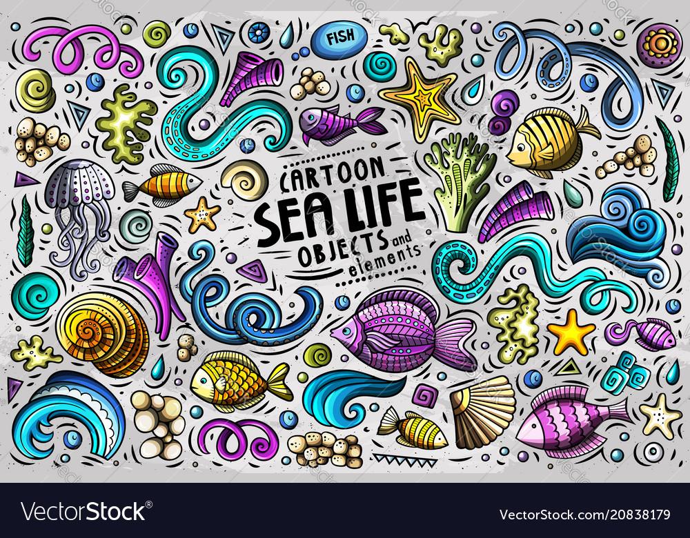 Doodle cartoon set of sea life objects and symbols
