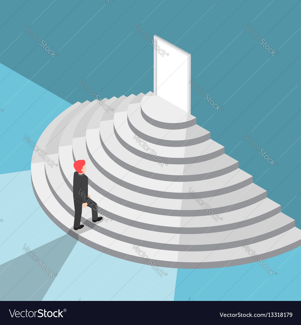 Isometric businessman walking up staircase to the