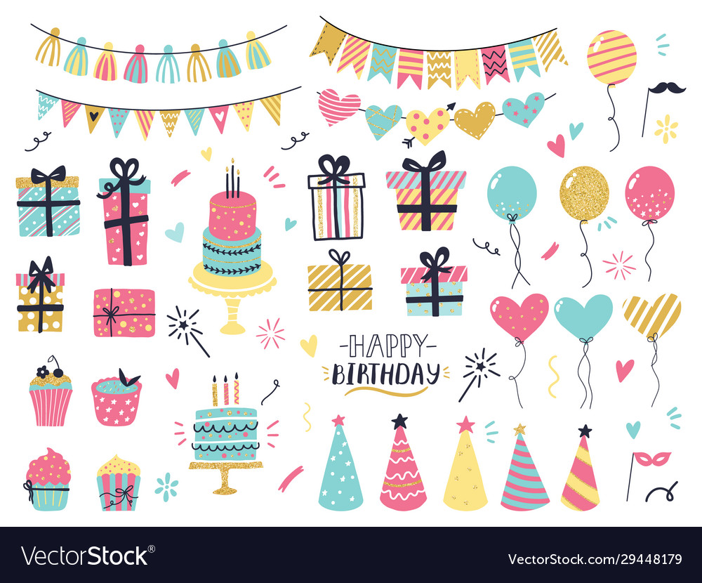 Party celebration hand drawn elements greeting