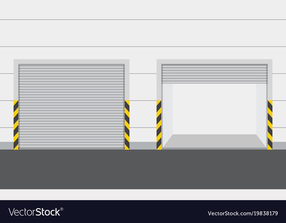 Roller Warehouse Shutter Doors Vector Image