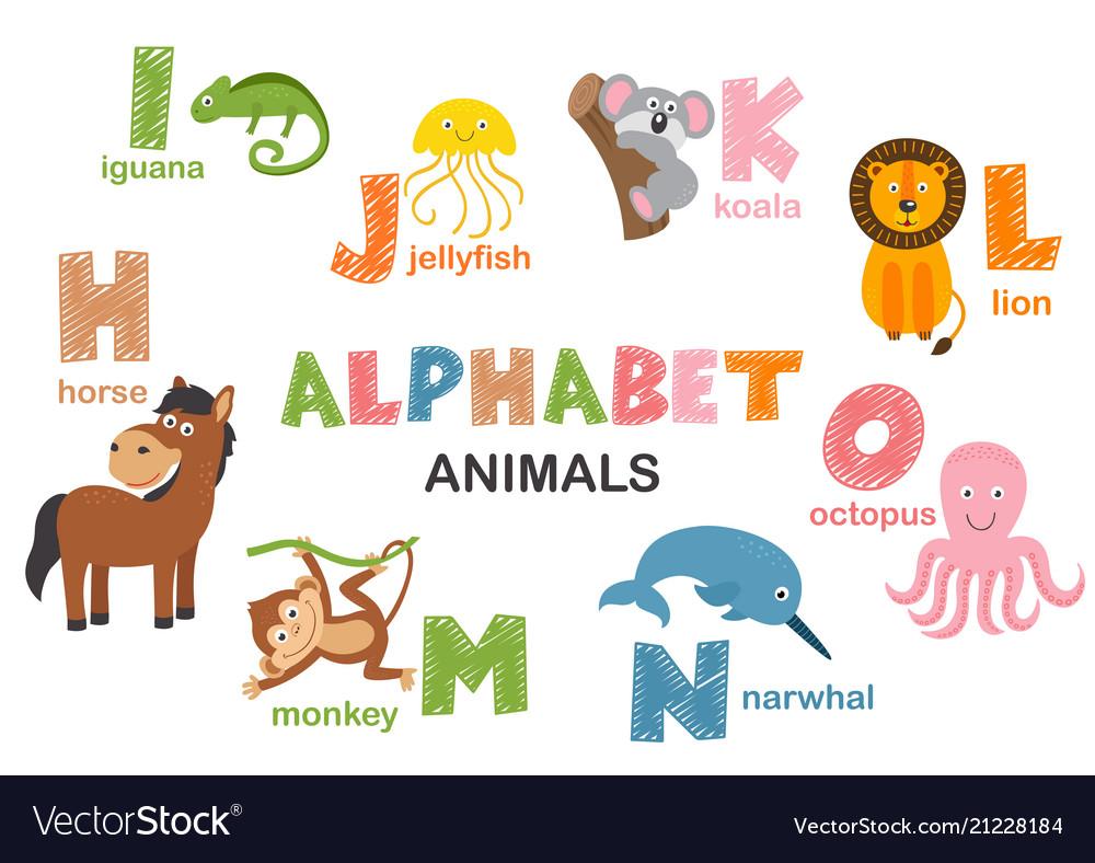Alphabet with animals h to o