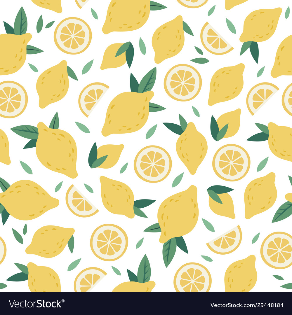 Citrus seamless pattern lemon cartoon funny hand